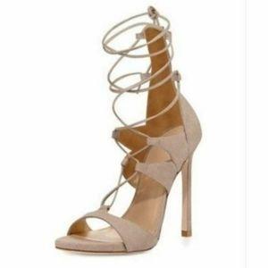 New Stuart Weitzman Suede Nude Lace Heels Size 8.5